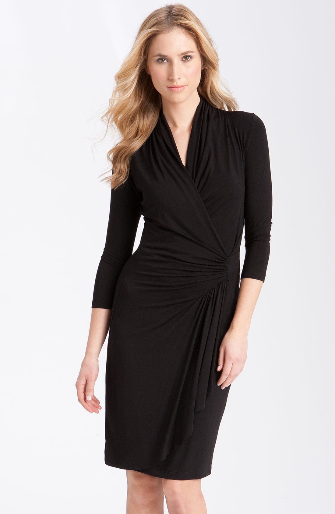 Main Image - Karen Kane Cascade Faux Wrap Dress (Regular & Petite)