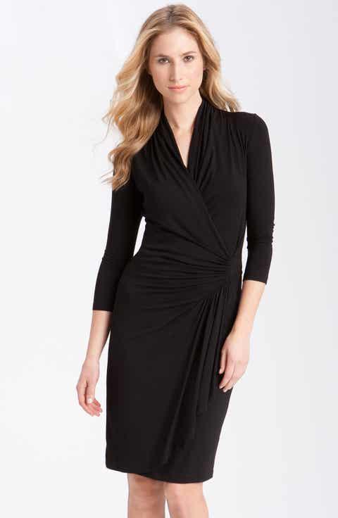 Karen Kane Cascade Faux Wrap Dress Regular Petite