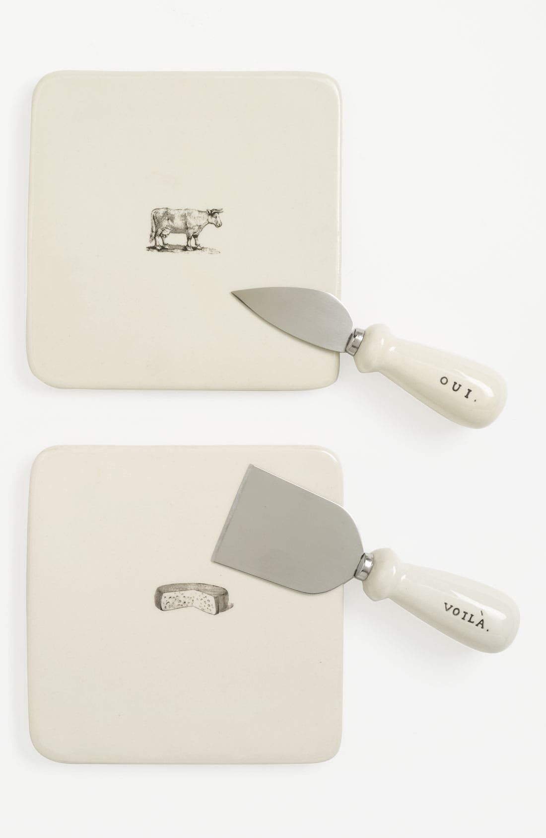 Alternate Image 1 Selected - Rae Dunn by Magenta 'Say Cheese' Plate & Knife (Set of 2)