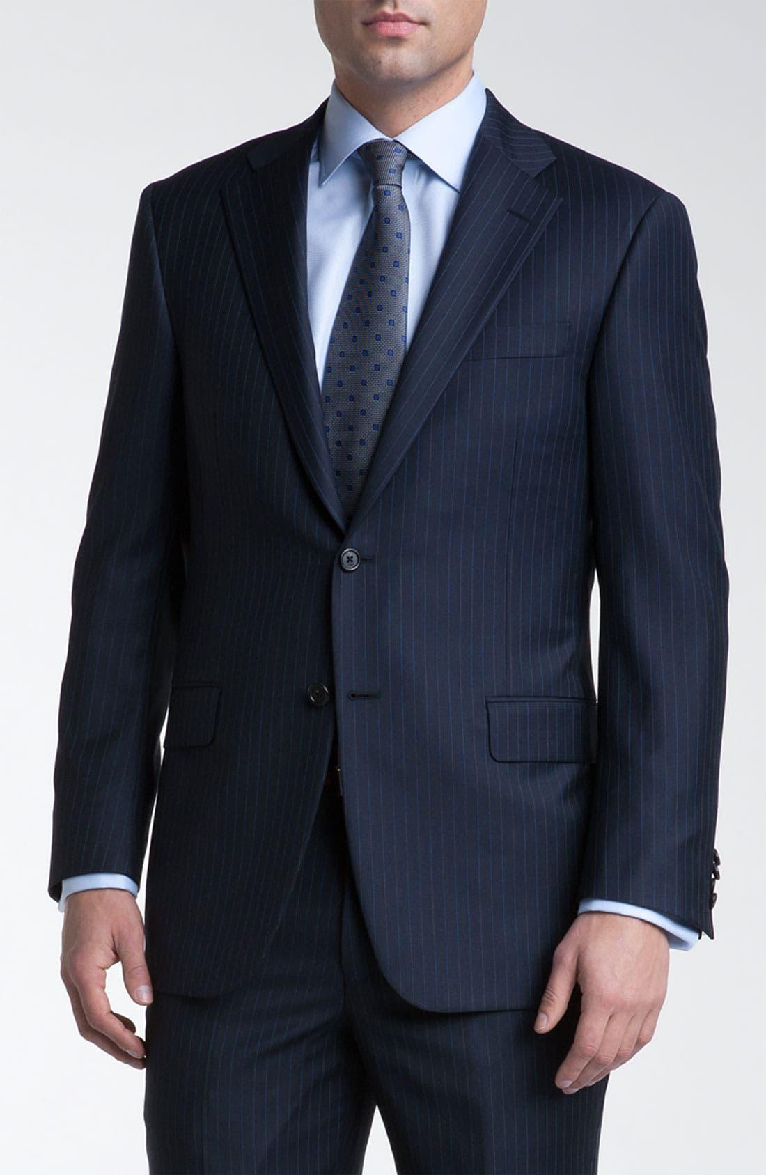 Main Image - Hickey Freeman Bead Stripe Wool Suit