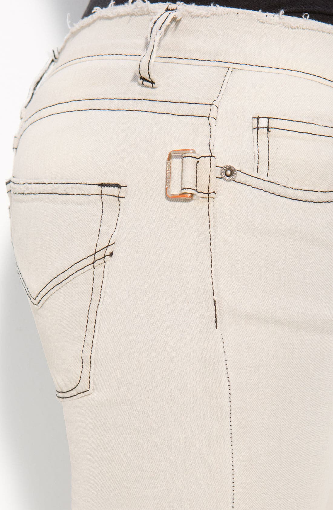 'Darkside' Bleached Skinny Jeans,                             Alternate thumbnail 4, color,                             Blanc