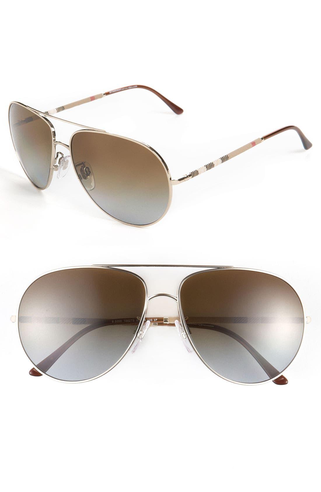 Main Image - Burberry Polarized Aviator Sunglasses