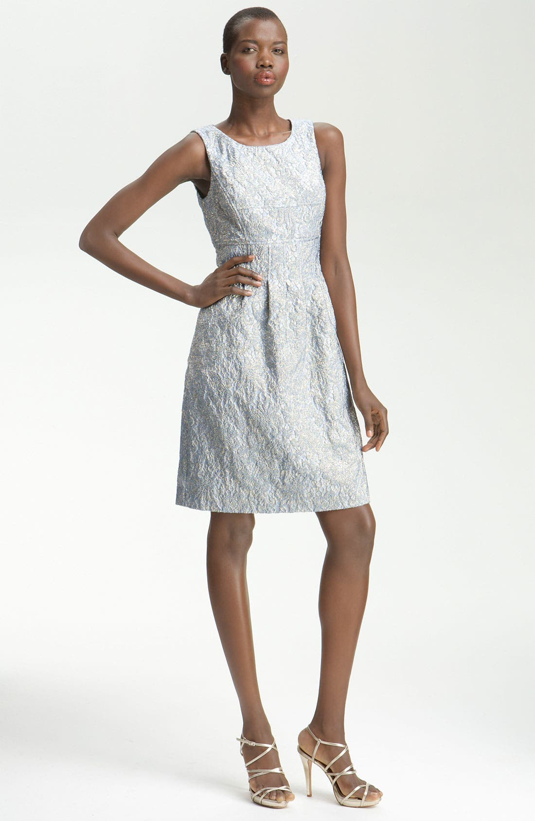 Alternate Image 1 Selected - Lela Rose Metallic Embossed Sheath Dress