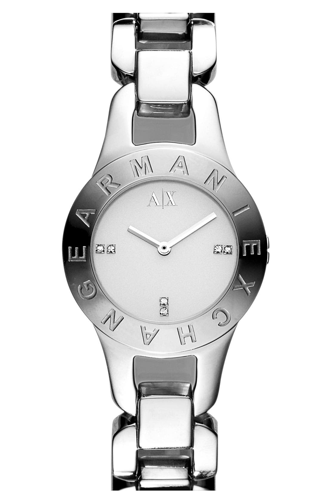 Main Image - AX Armani Exchange Logo Bezel Watch, 30mm (Online Only)
