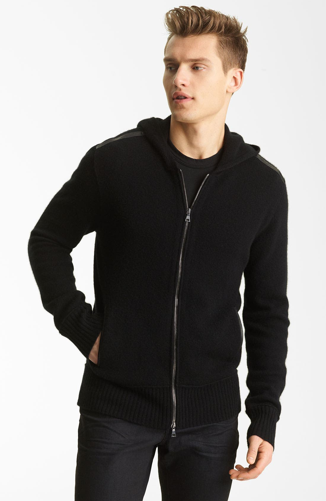Main Image - John Varvatos Collection Hooded Zip Cashmere Sweater