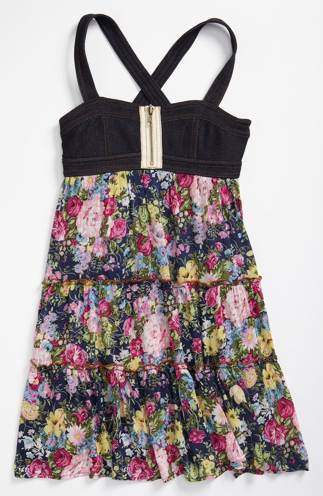 Alternate Image 1 Selected - Truly Me Denim Bodice Print Dress (Big Girls)