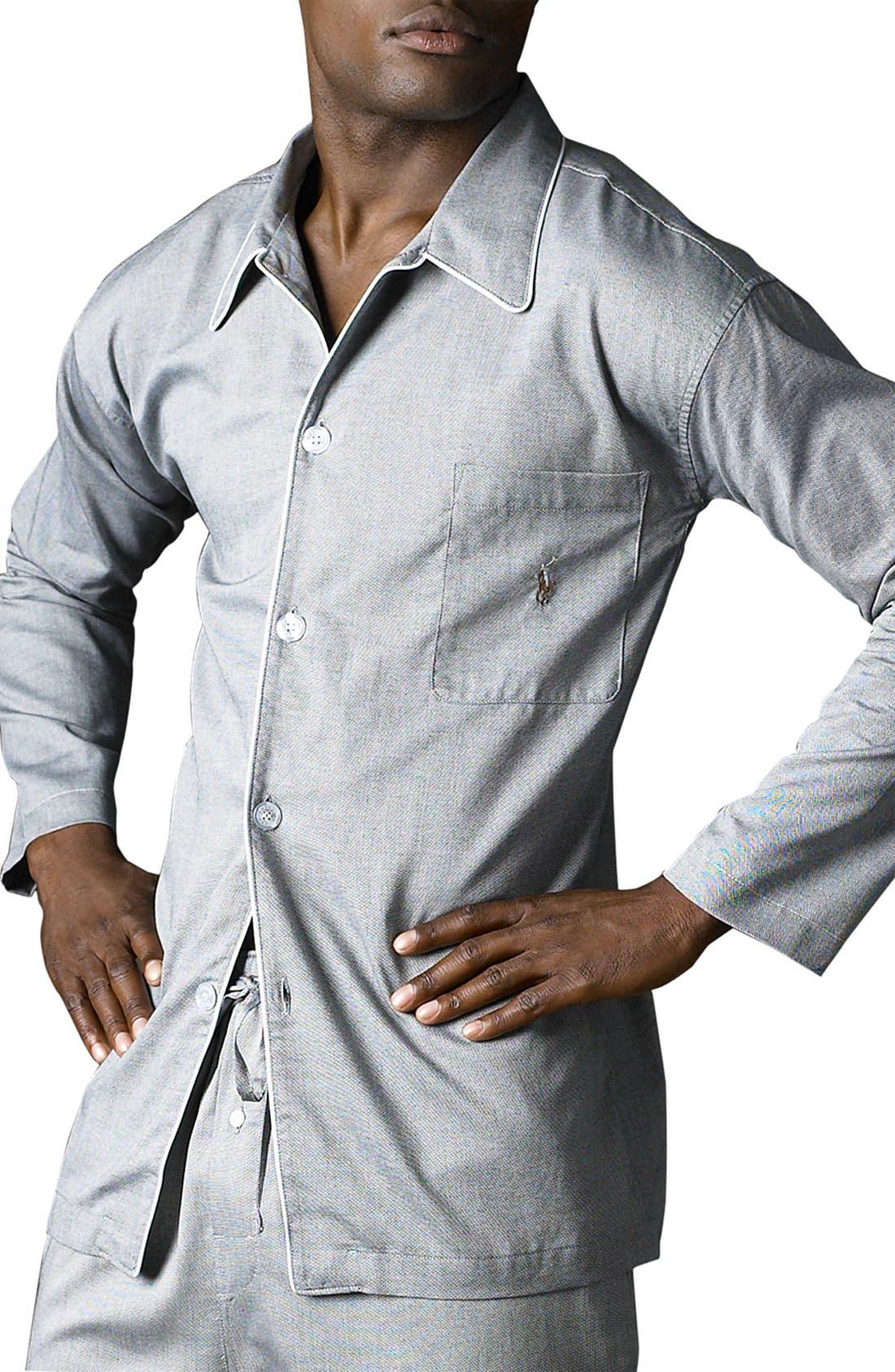 Pajama Top,                         Main,                         color, Black Royal Oxford