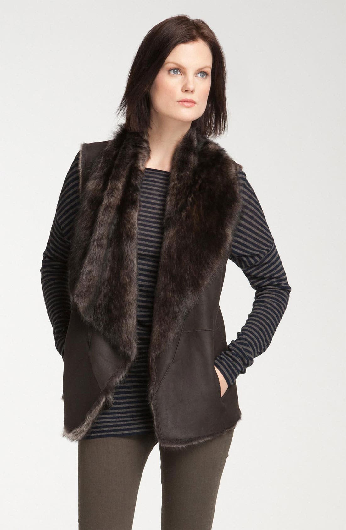 Main Image - Vince Draped Genuine Shearling Vest