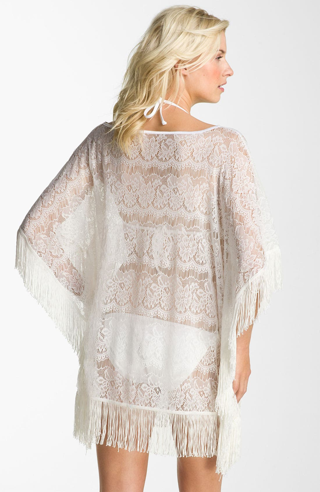 Alternate Image 2  - Make + Model Fringe Poncho Cover-Up