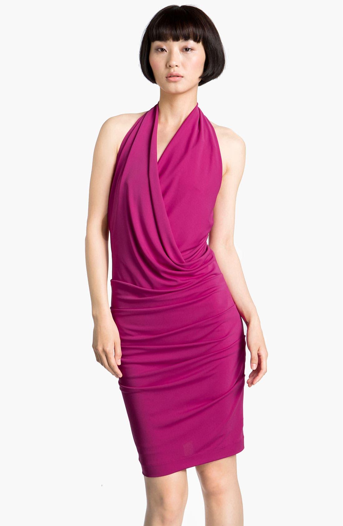 Alternate Image 1 Selected - Nicole Miller Drape Front Jersey Halter Dress