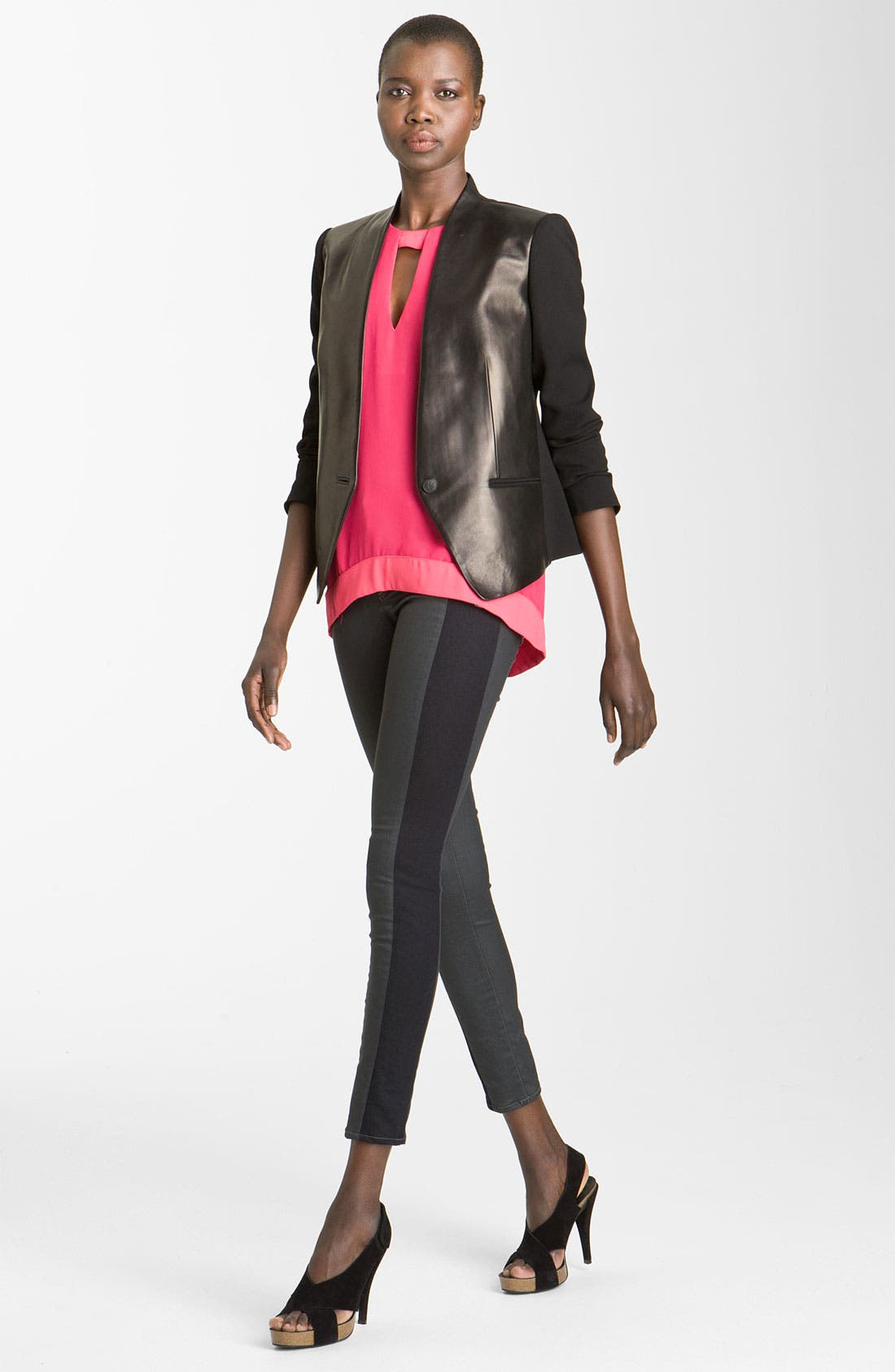 'Pascal' Leather Panel Crepe Jacket,                         Main,                         color, Black