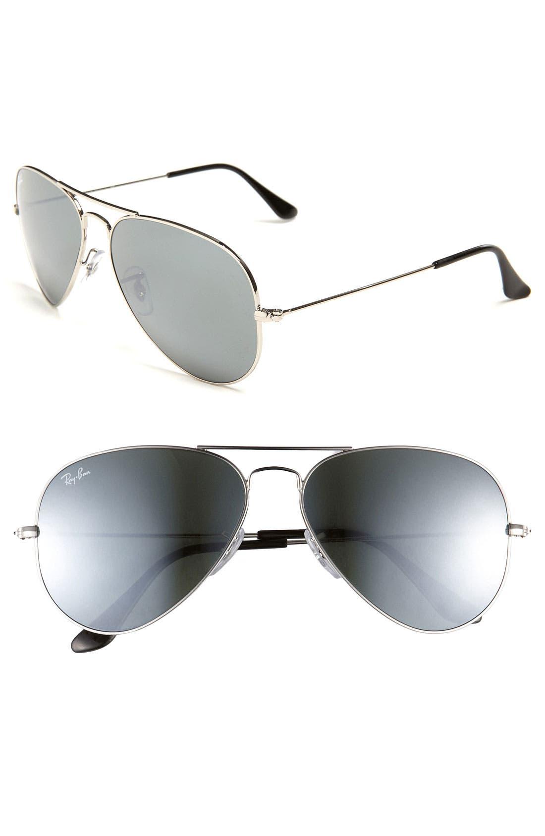 Original Aviator 58mm Sunglasses,                             Main thumbnail 1, color,                             Silver