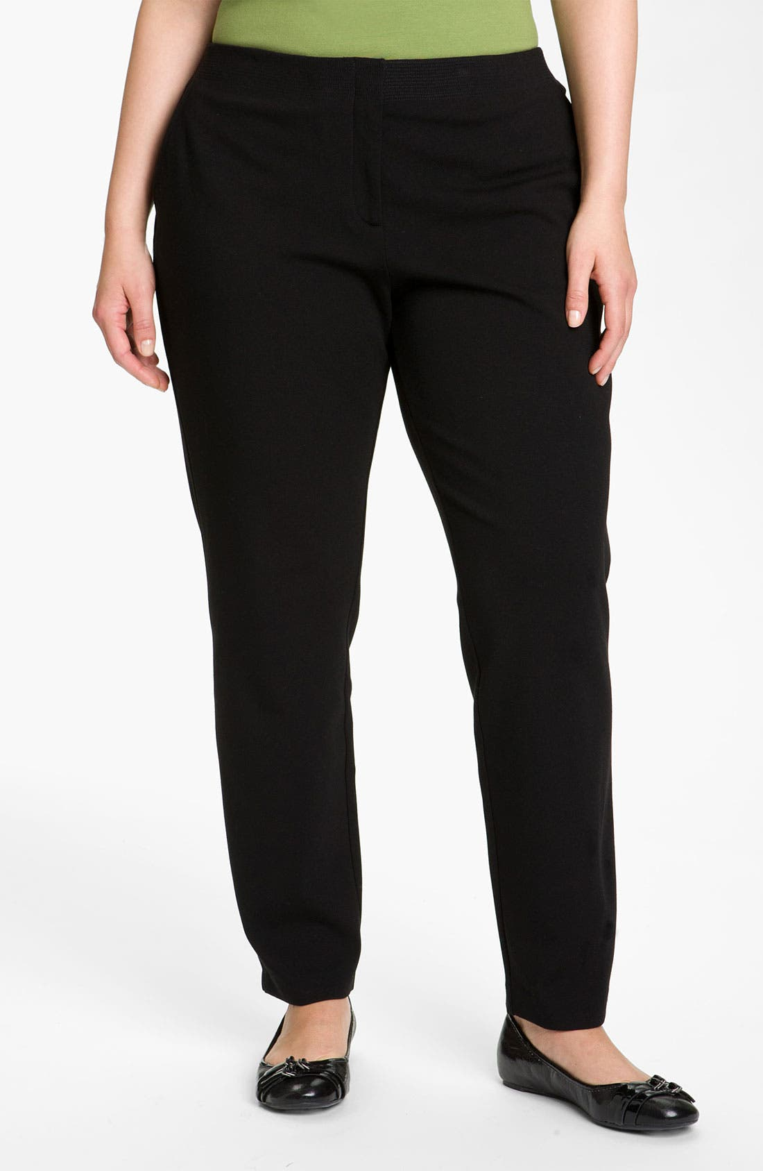 Alternate Image 1 Selected - Eileen Fisher Stitched Waist Slim Ankle Pants (Plus)
