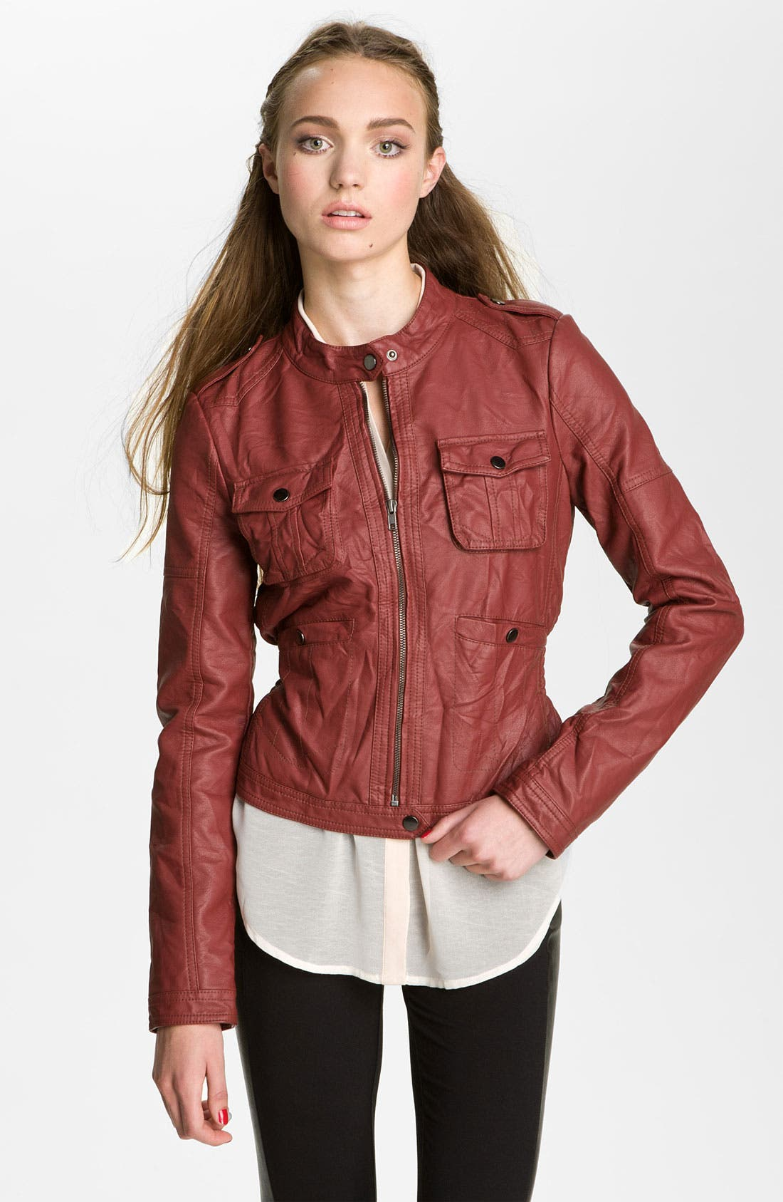 Main Image - Collection B Quilted Faux Leather Jacket (Juniors)