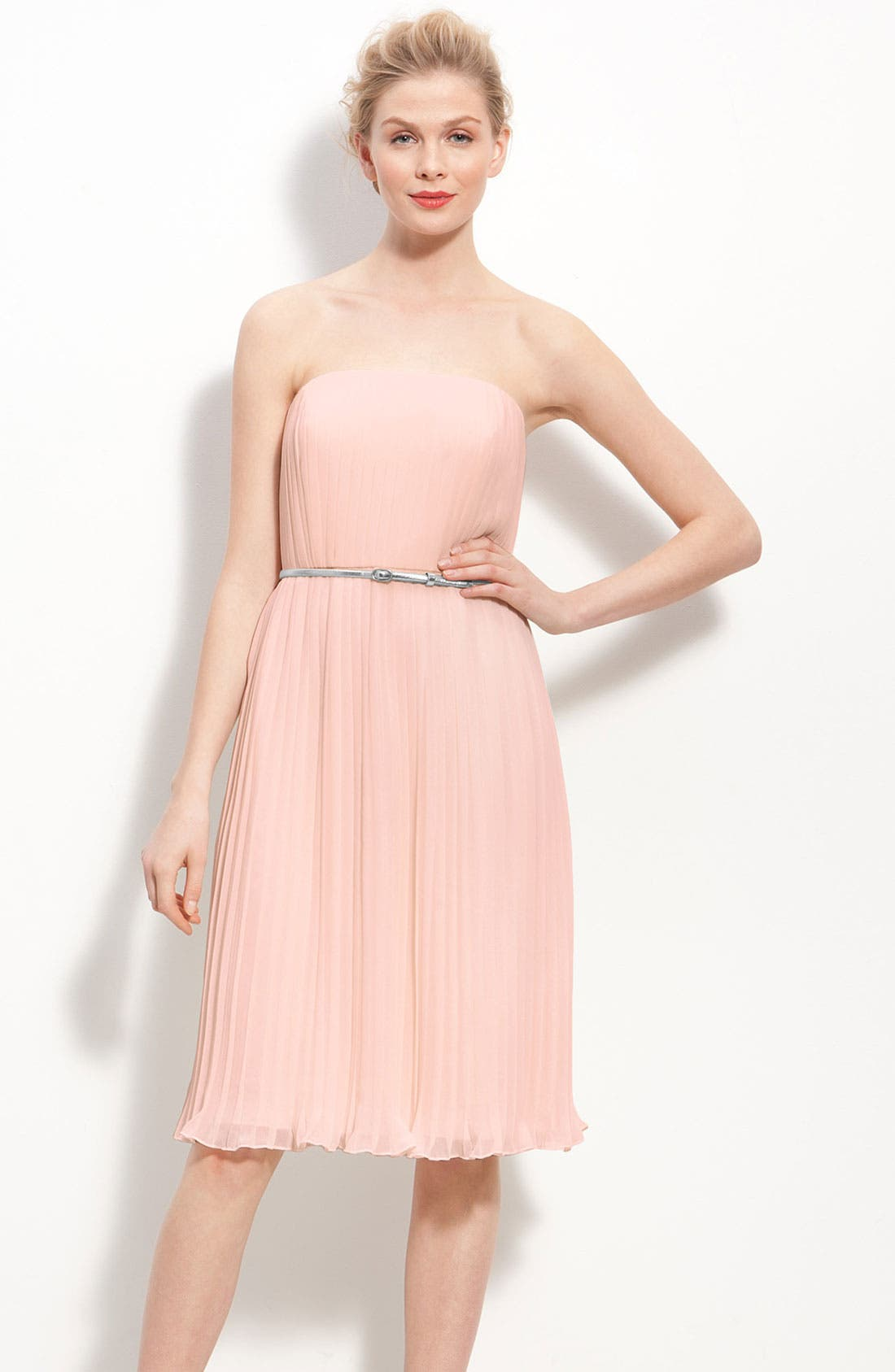 Main Image - Donna Morgan Belted Pleated Chiffon Dress
