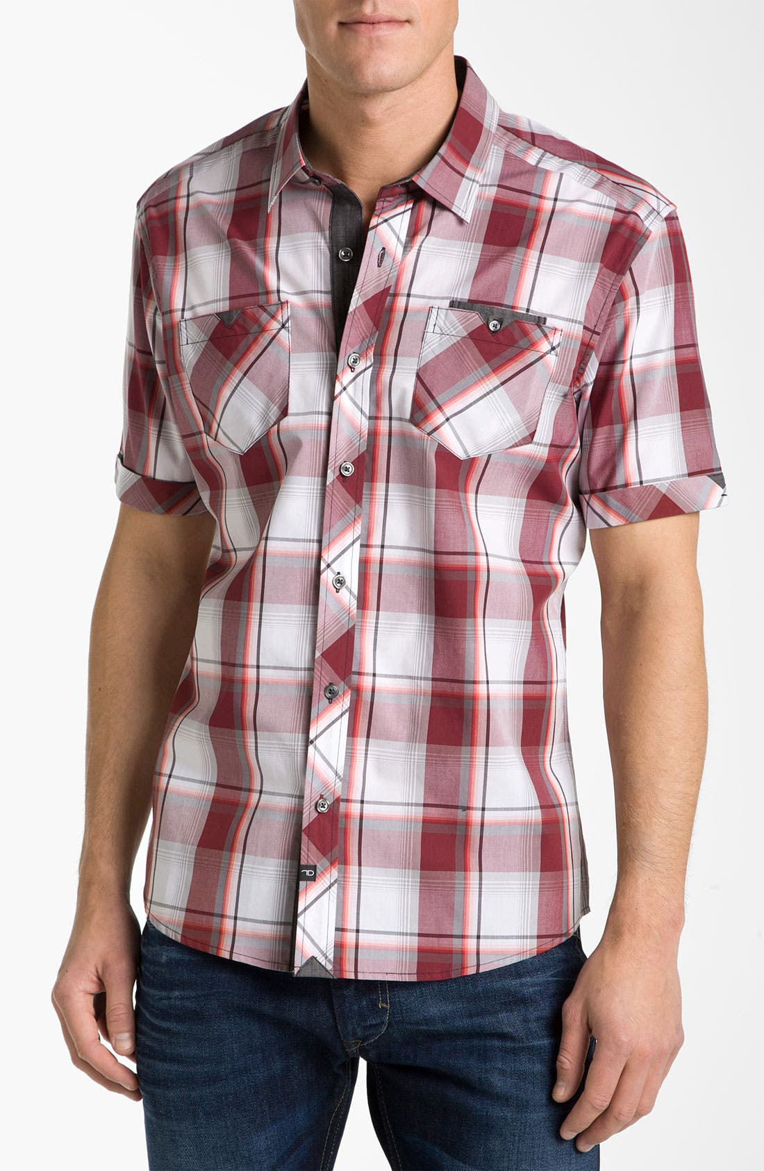 Main Image - 7 Diamonds 'Up Above the Rock' Plaid Woven Short Sleeve Shirt