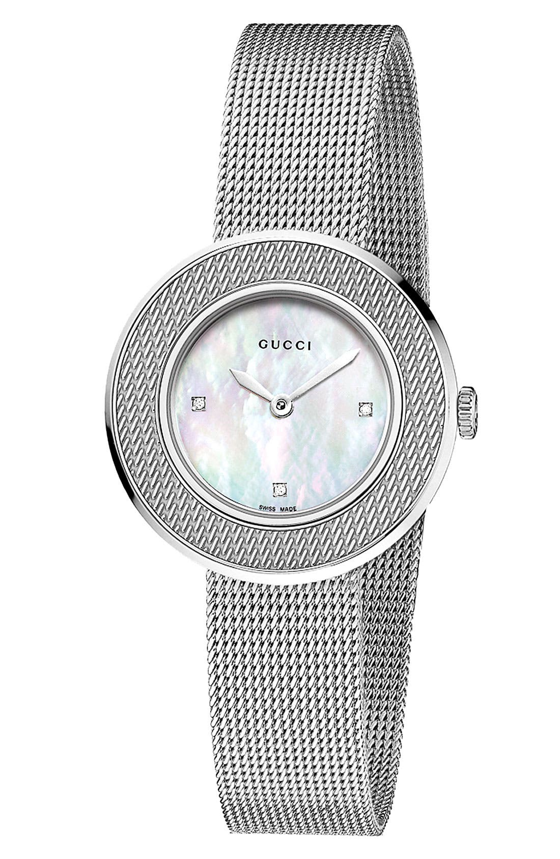Alternate Image 1 Selected - Gucci 'U-Play' Round Diamond Dial Mesh Watch, 26mm
