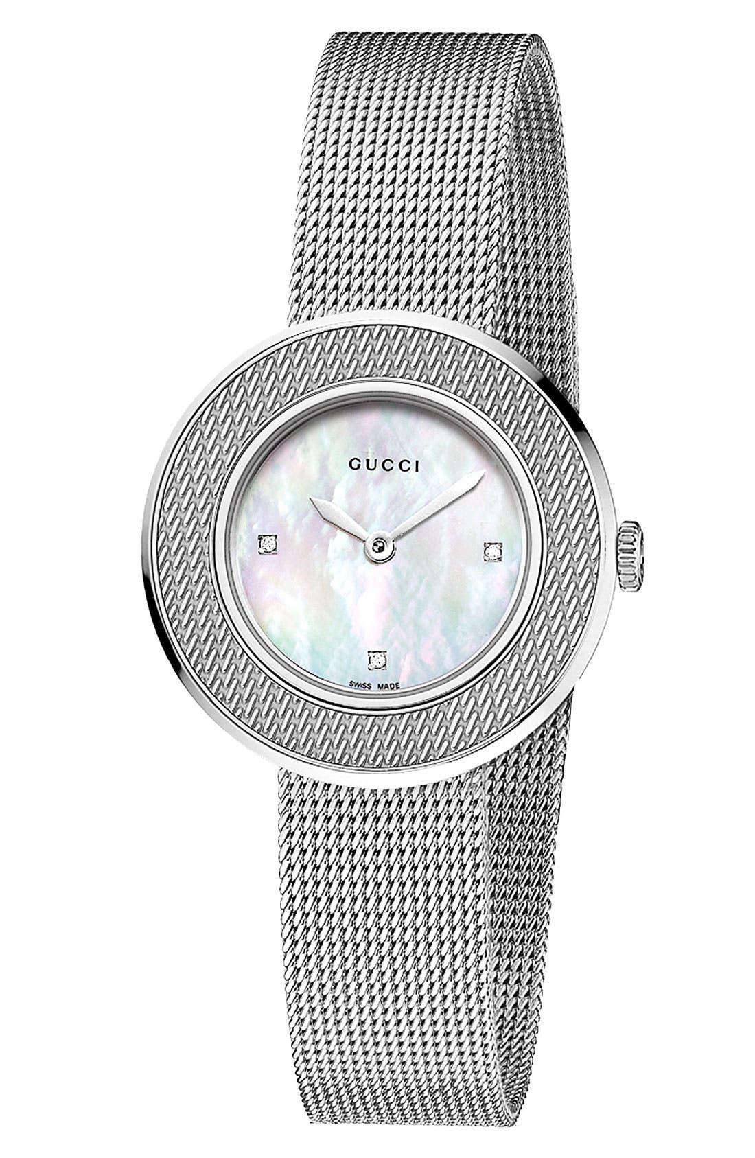 Main Image - Gucci 'U-Play' Round Diamond Dial Mesh Watch, 26mm