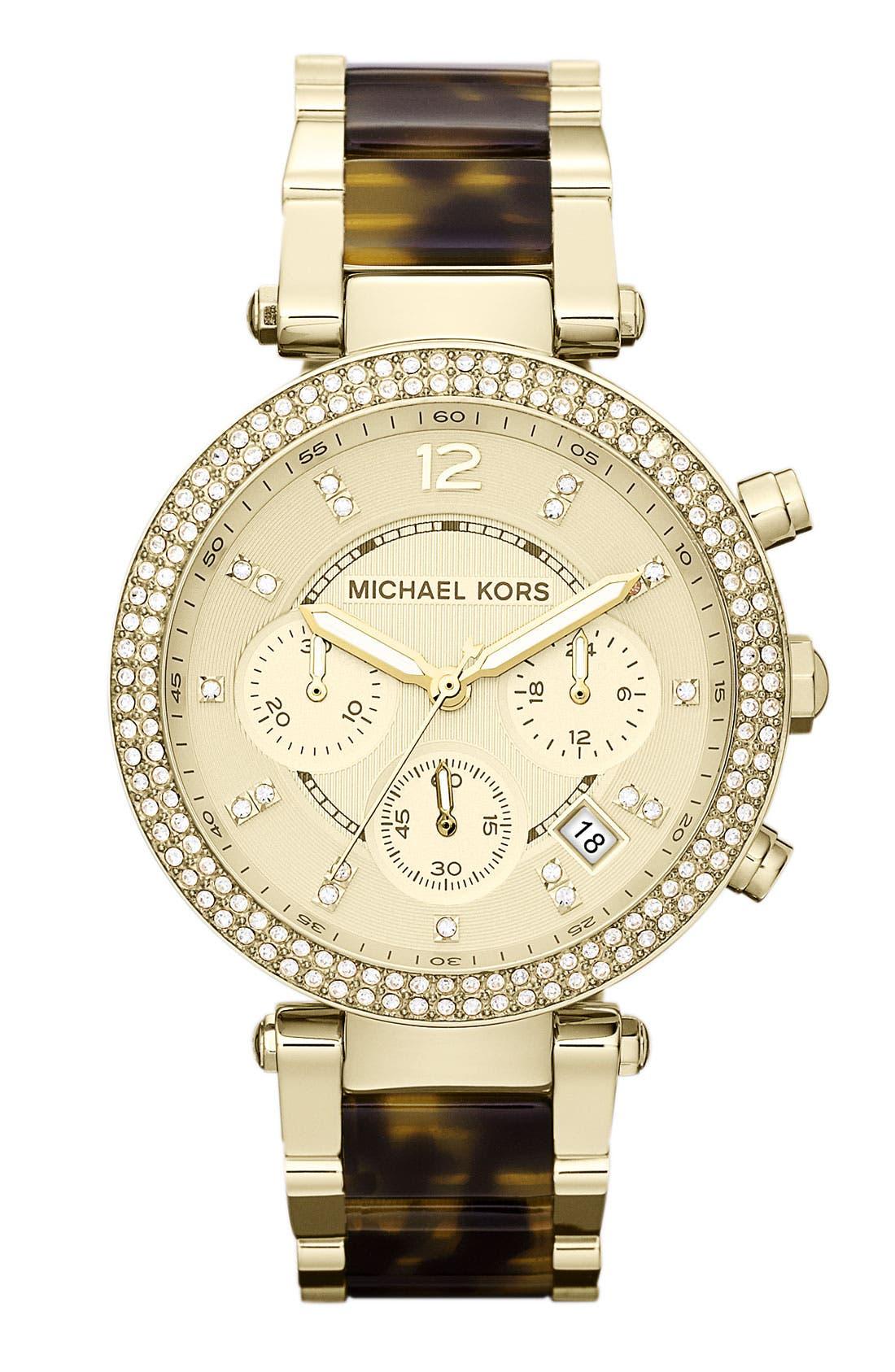 'Parker' Chronograph Watch, 39mm,                         Main,                         color, Gold/ Tortoise