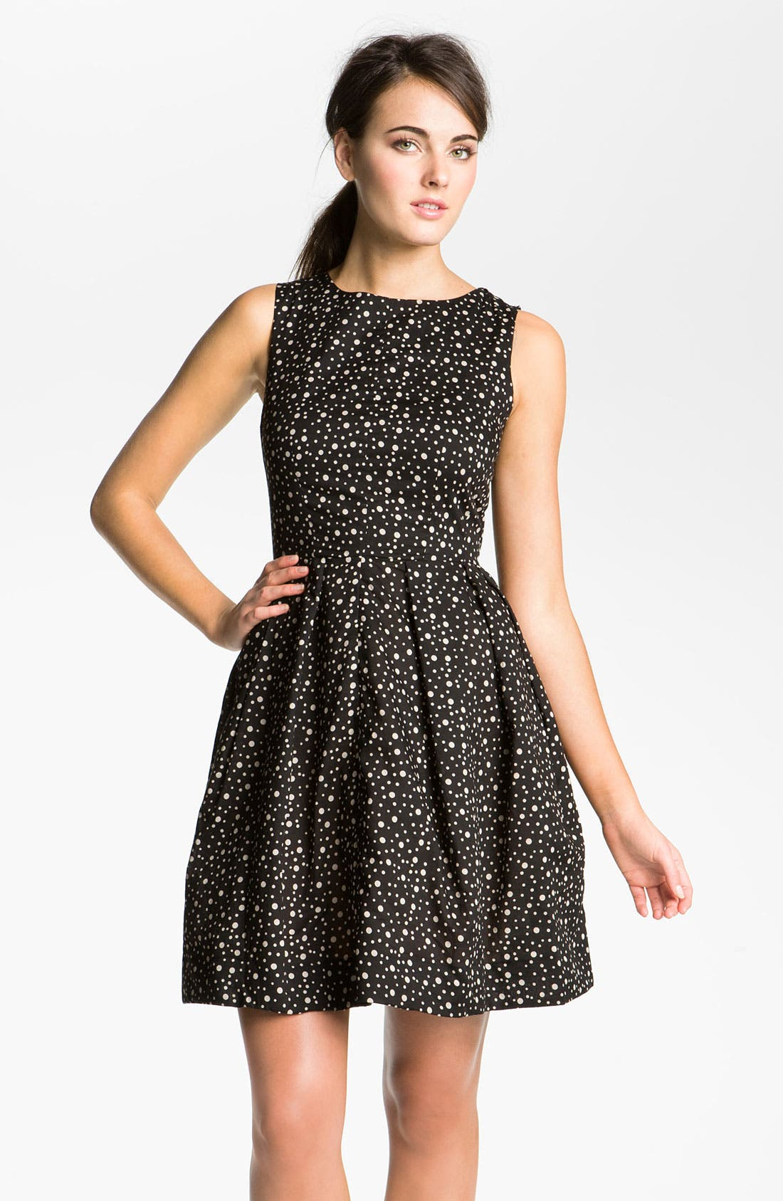 Alternate Image 1 Selected - Taylor Dresses Polka Dot Cotton Fit & Flare Dress