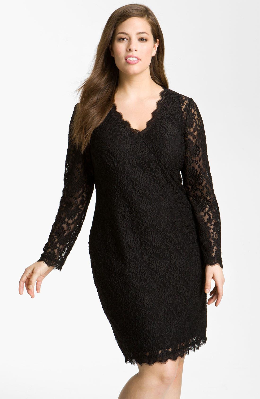 Main Image - Adrianna Papell Lace Overlay Sheath Dress (Plus)