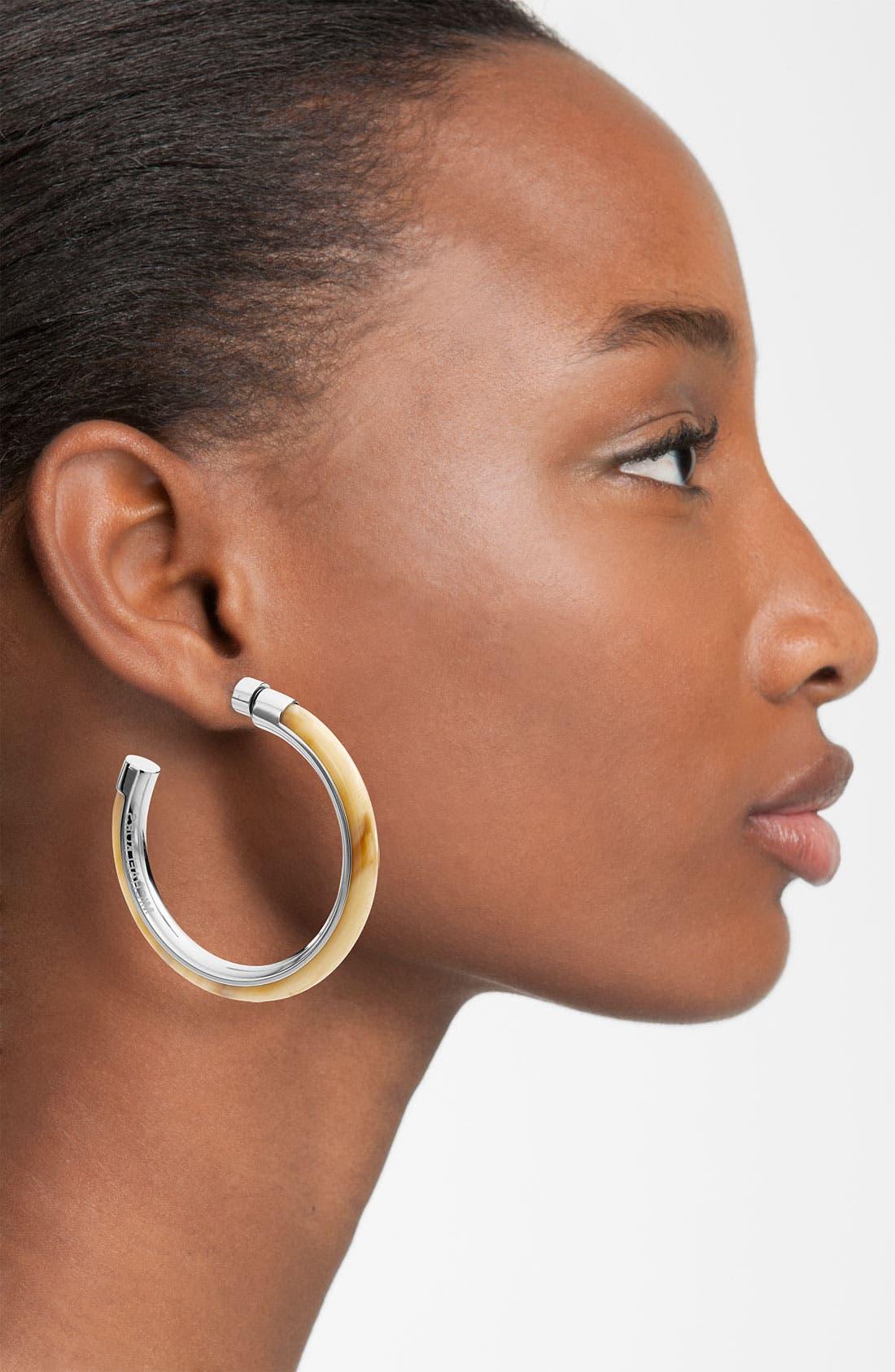 Alternate Image 2  - Michael Kors 'Safari Glam' Inlay Hoop Earrings