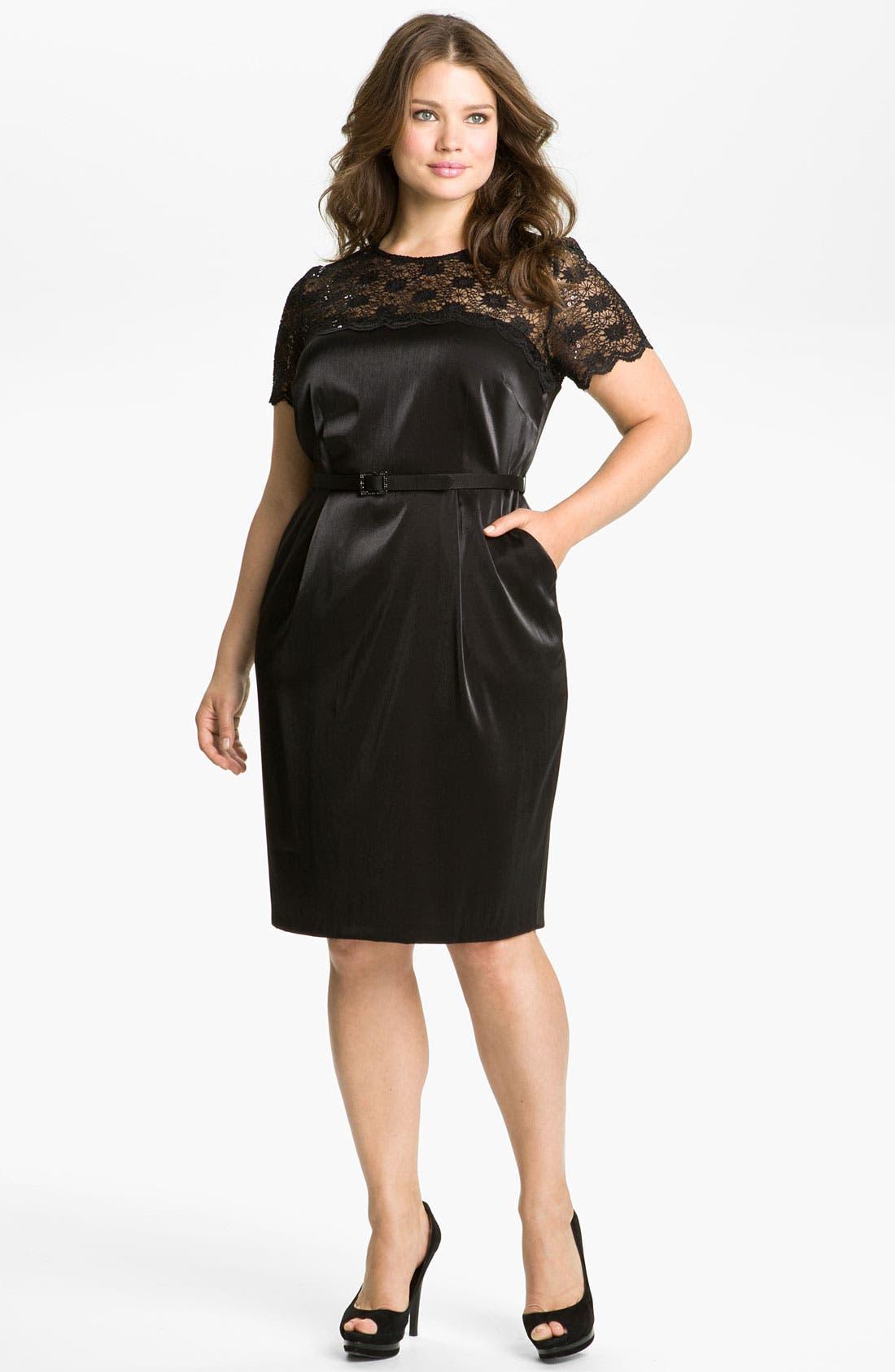 Main Image - Alex Evenings Lace Trim Satin Sheath Dress (Plus)