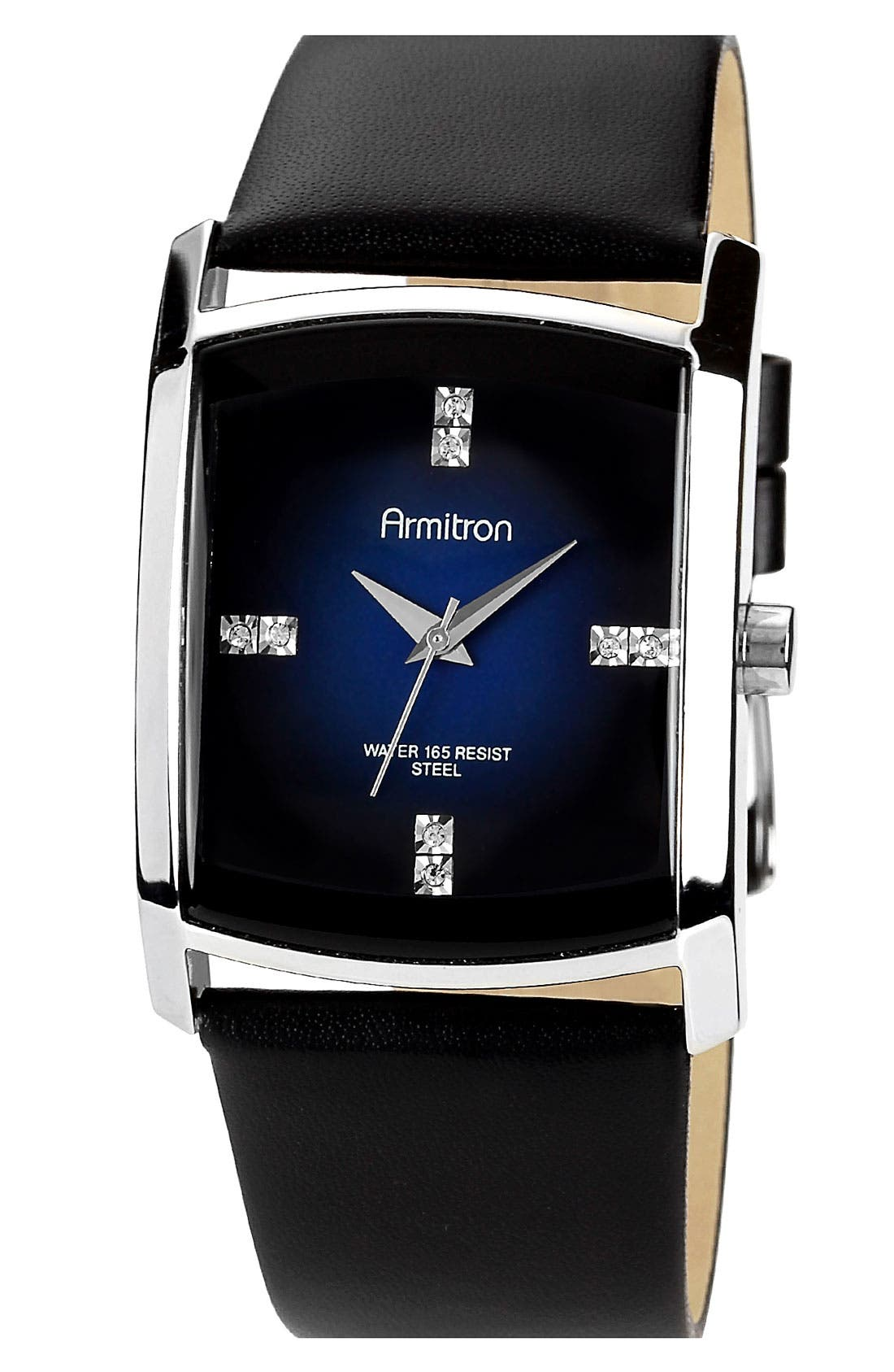 Main Image - Armitron Square Dial Leather Strap Watch, 33mm x 35mm