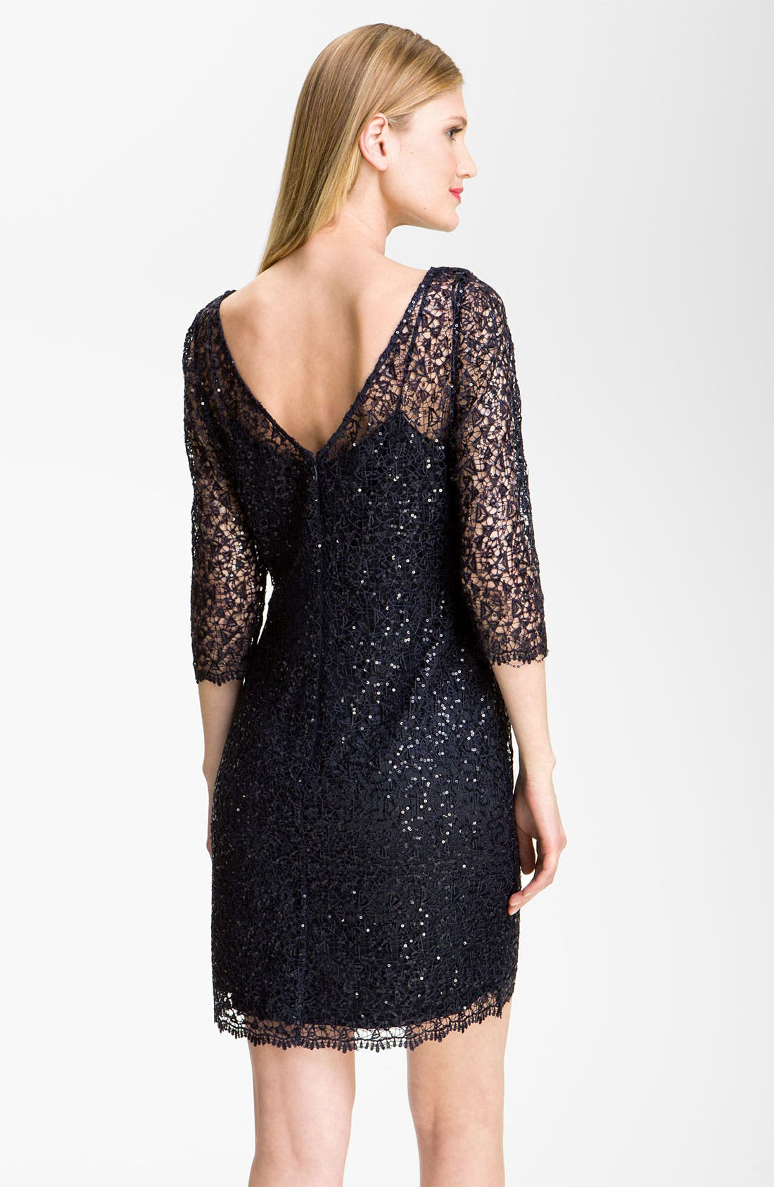 Alternate Image 2  - Kay Unger Sequin Lace Sheath Dress