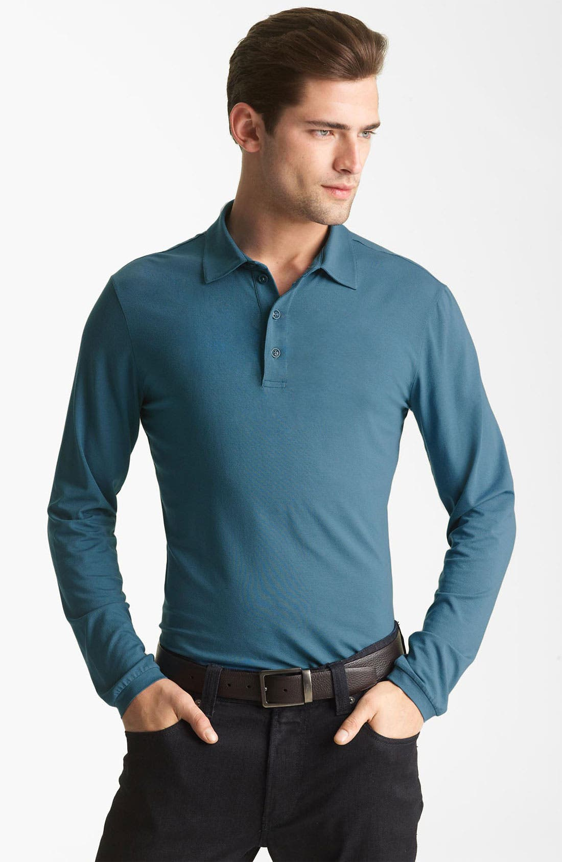 Alternate Image 1 Selected - Armani Collezioni Long Sleeve Polo