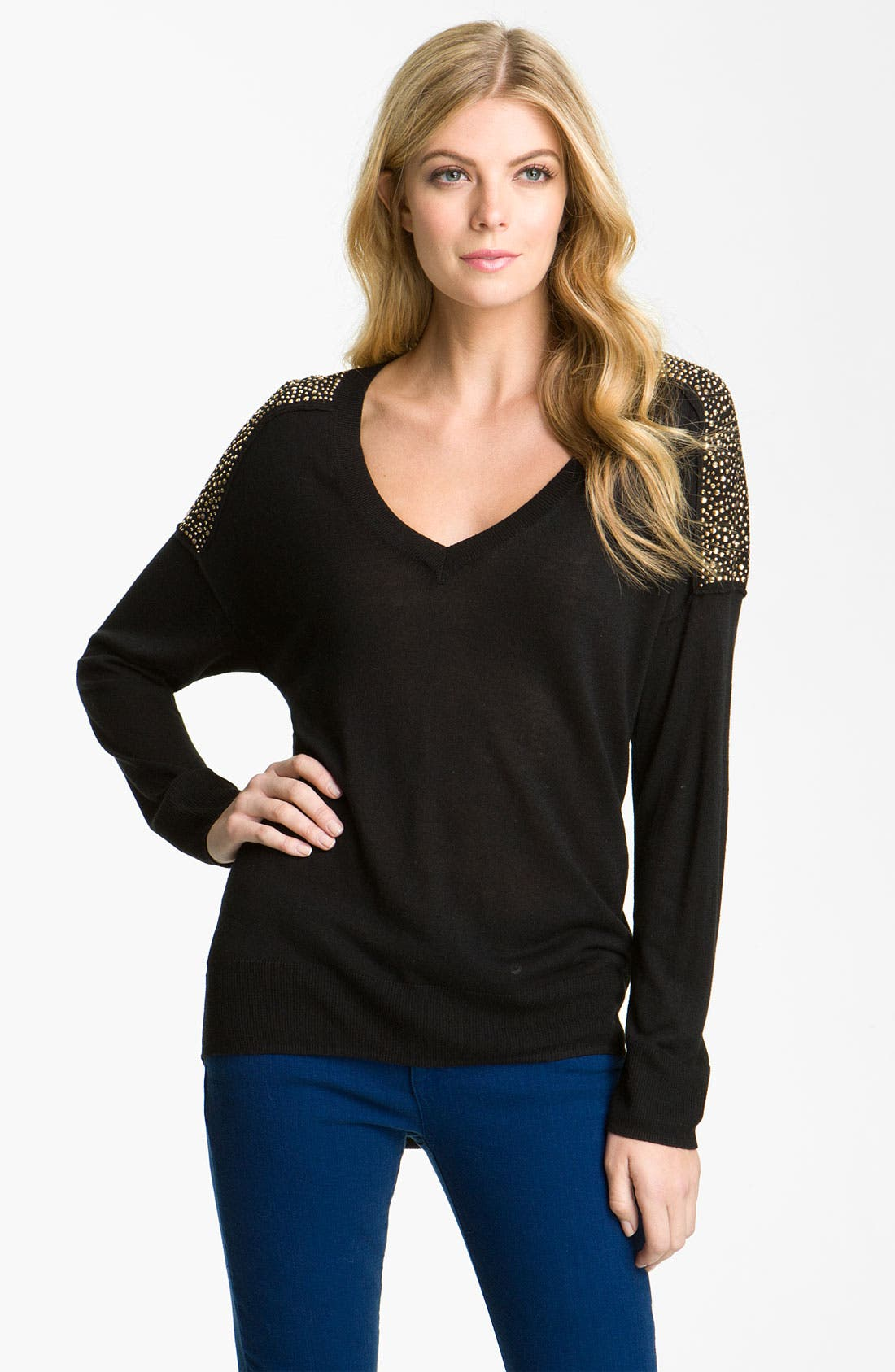 Alternate Image 1 Selected - MICHAEL Michael Kors Studded V-Neck Sweater