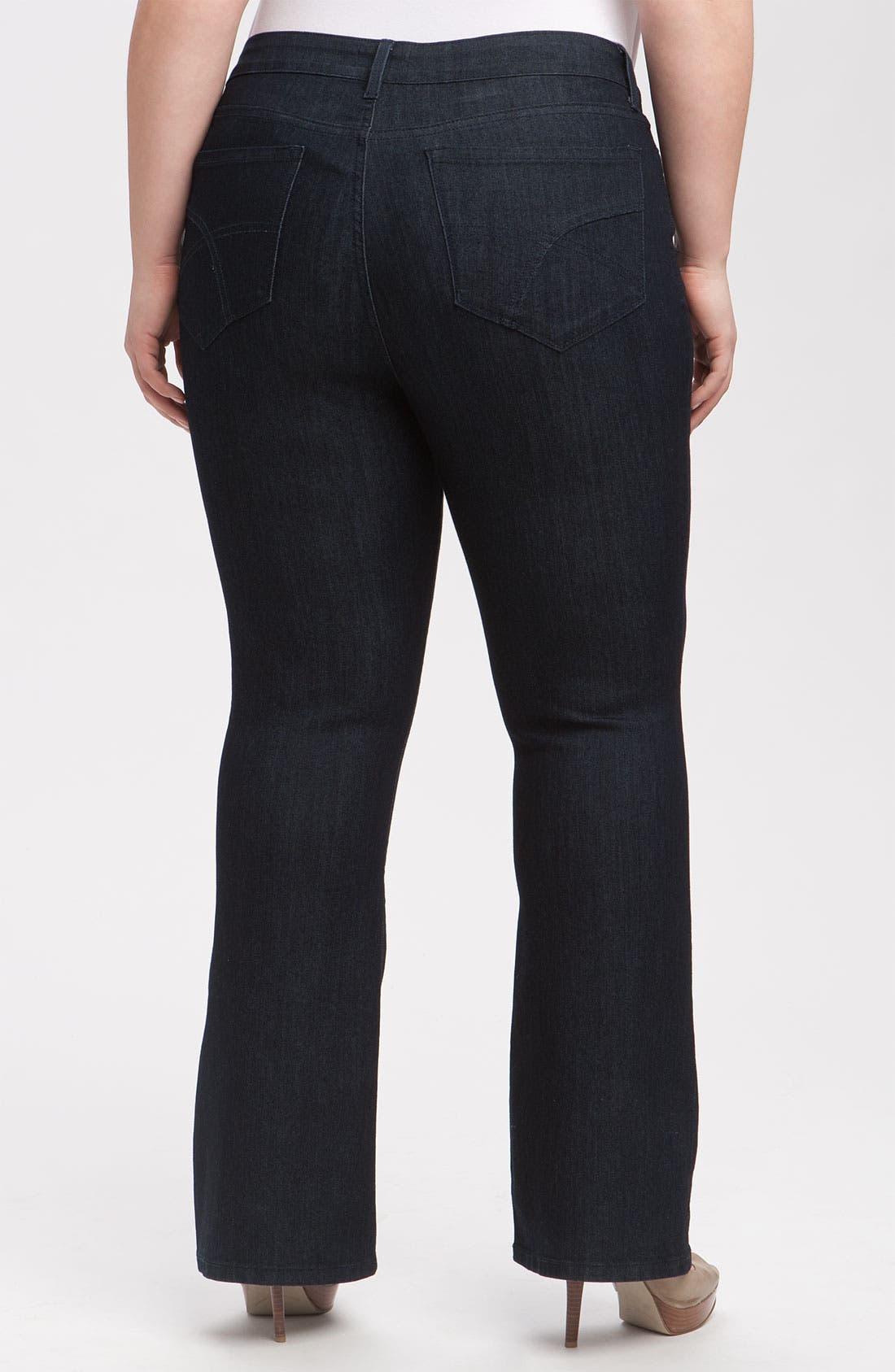 Alternate Image 2  - NYDJ 'Barbara' Stretch Bootcut Jeans (Dark Enzyme) (Petite Plus Size)