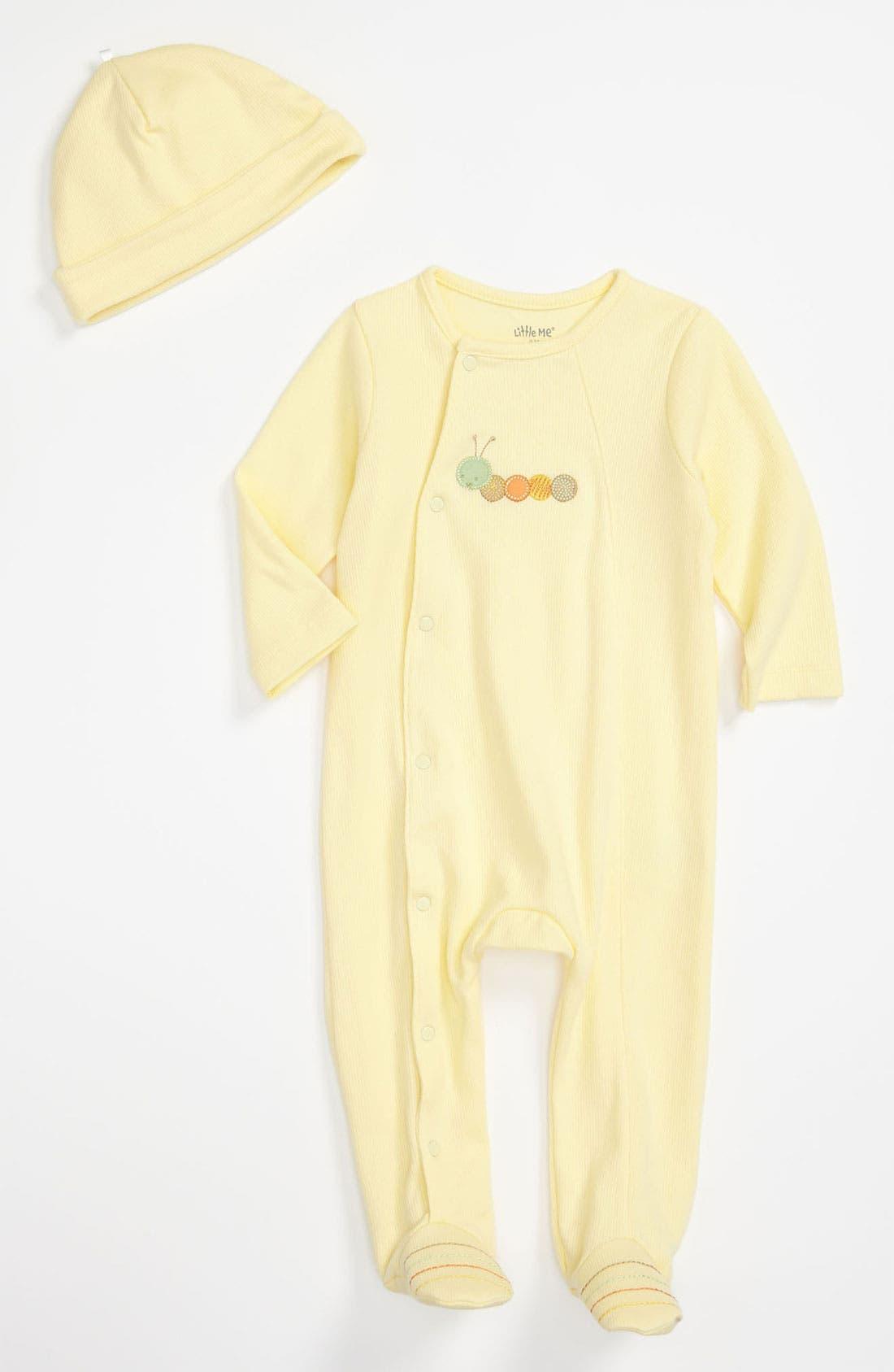 Alternate Image 1 Selected - Little Me Footie & Hat (Infant)