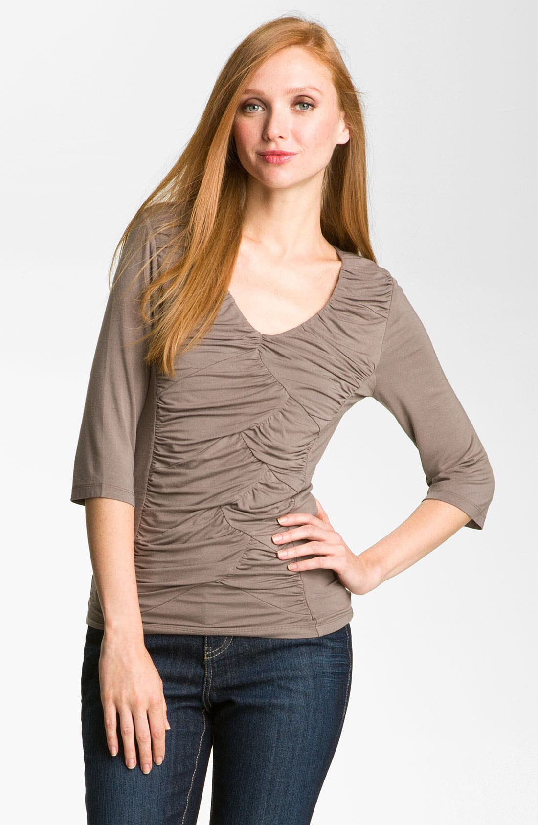 Alternate Image 1 Selected - Kische Ruched Front Top (Petite)