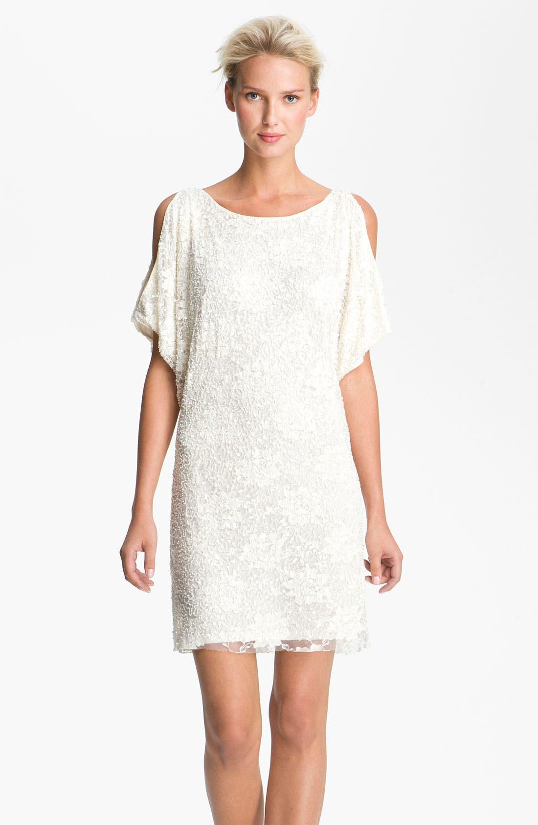 Main Image - Aidan Mattox Embellished Split Sleeve Lace Shift Dress
