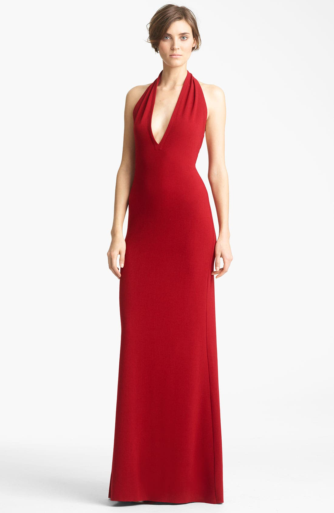 Alternate Image 1 Selected - Yigal Azrouël Crepe Halter Gown