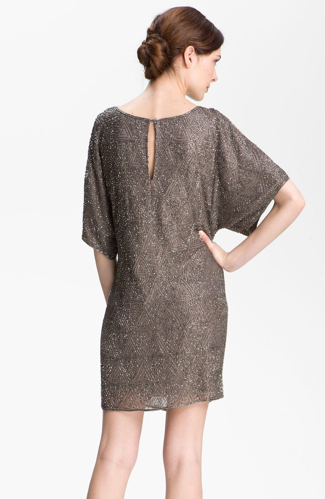 Alternate Image 2  - Pisarro Nights Beaded Split Sleeve Silk Shift Dress