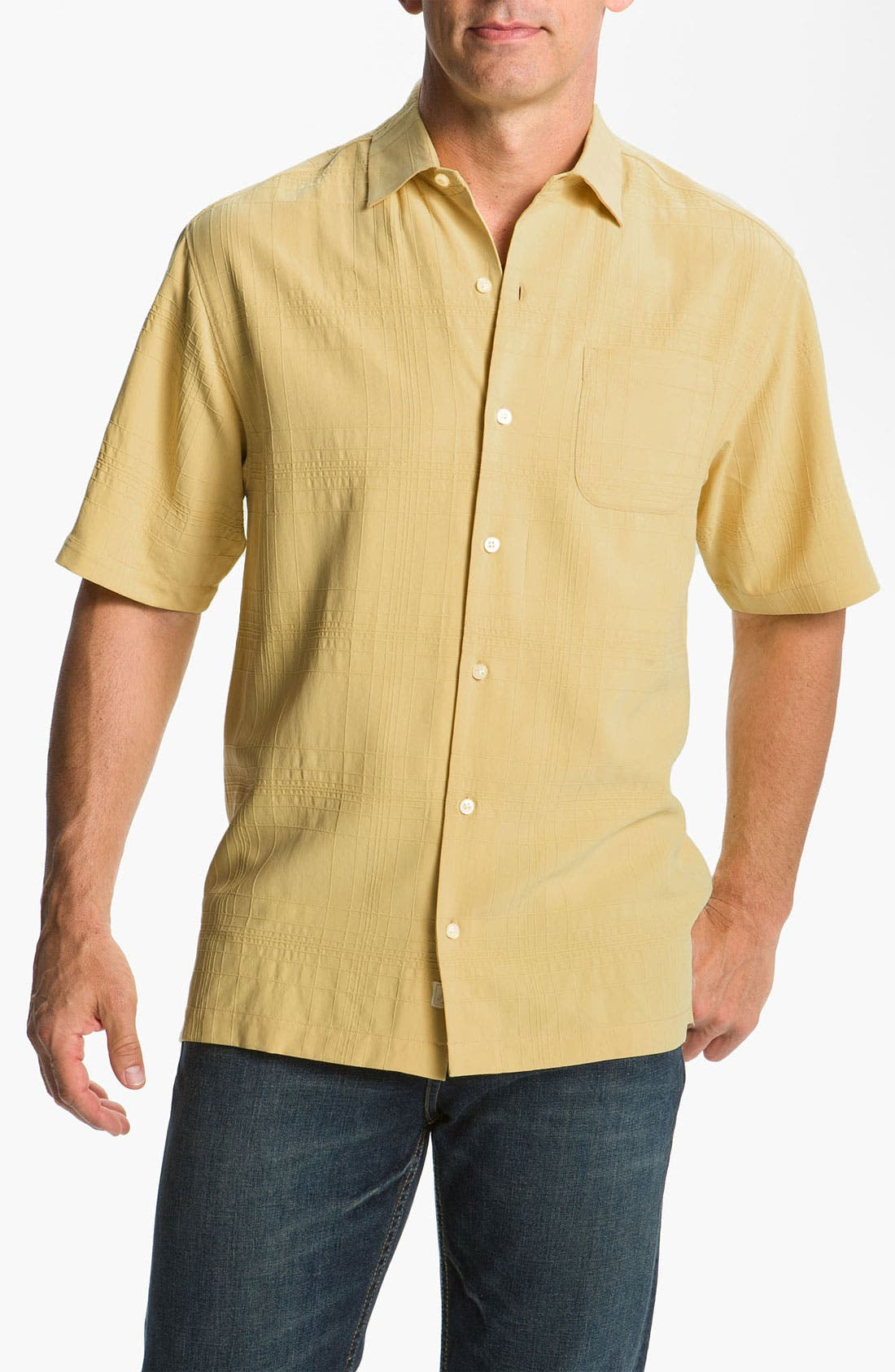 Alternate Image 1 Selected - Tommy Bahama 'Skyscraper' Silk Campshirt