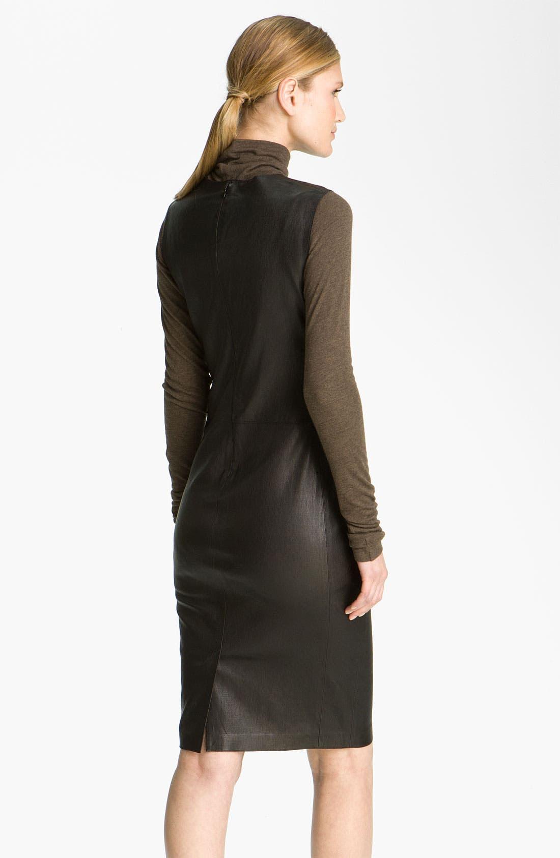 Alternate Image 2  - Vince Stretch Leather Sheath Dress