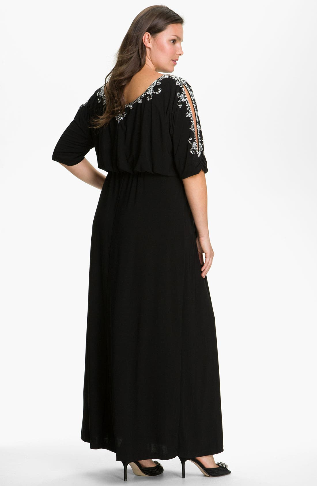 Alternate Image 2  - Alex Evenings Beaded Cold Shoulder Blouson Dress (Plus)
