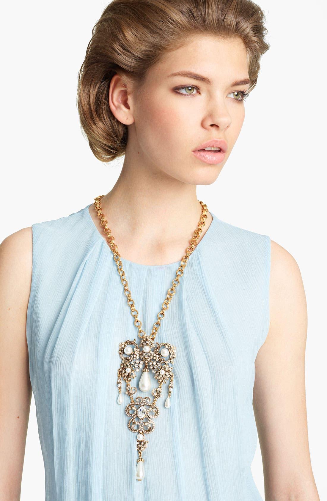 Main Image - Oscar de la Renta 'Baroque' Jeweled Brooch Necklace