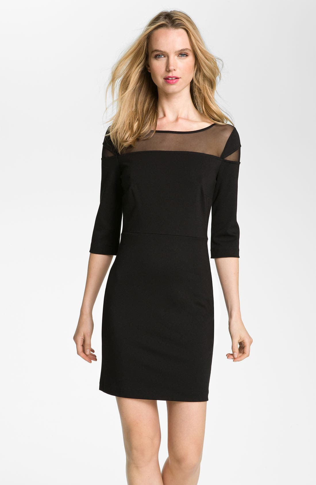 Main Image - BB Dakota Mesh Yoke Ponte Sheath Dress