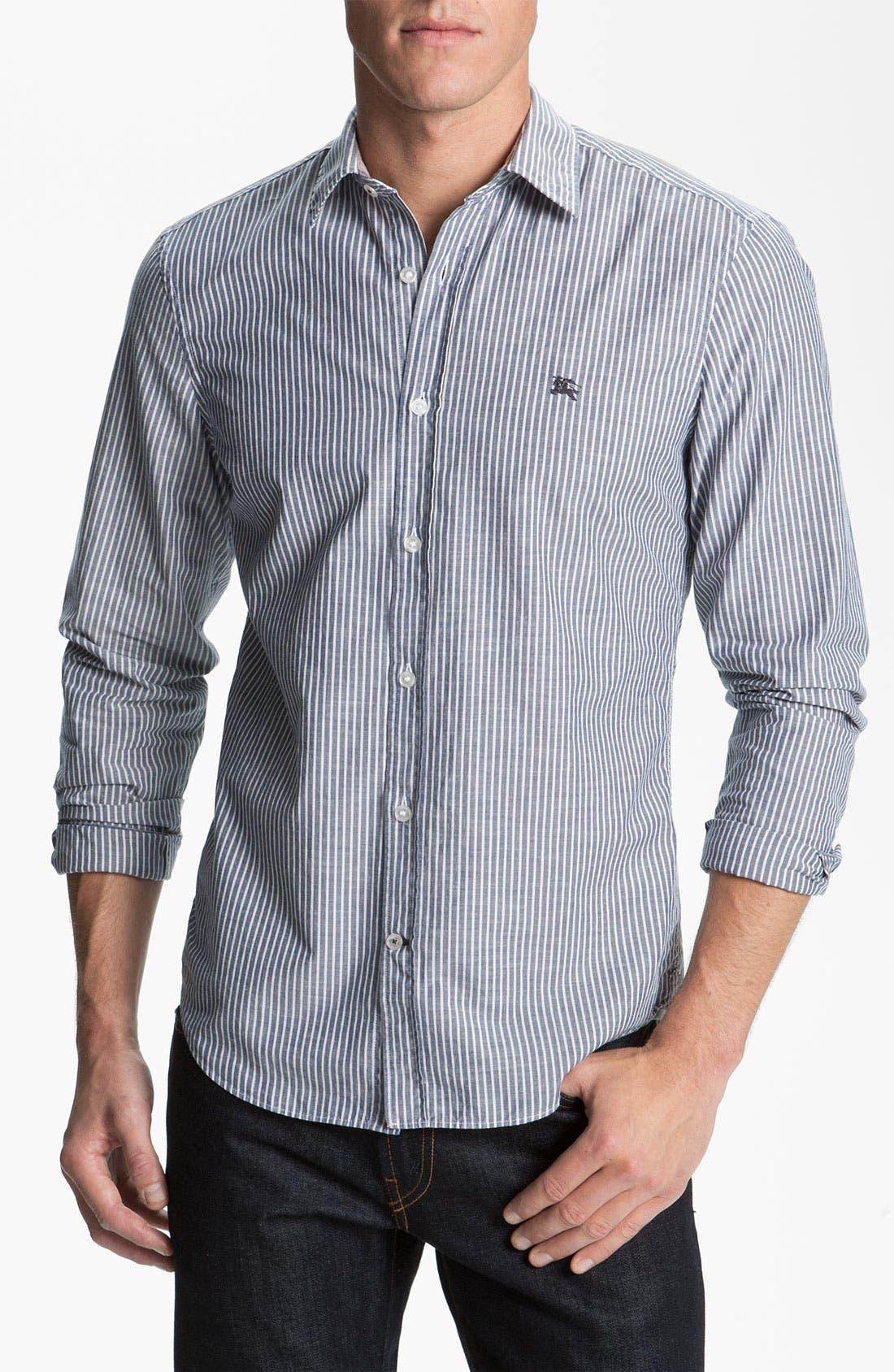 Alternate Image 1 Selected - Burberry Brit Stripe Trim Fit Sport Shirt