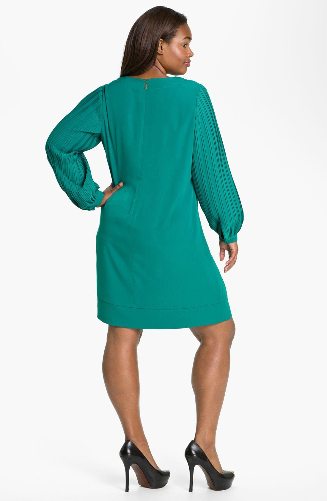 Alternate Image 2  - Donna Ricco Pleat Sleeve Shift Dress (Plus)