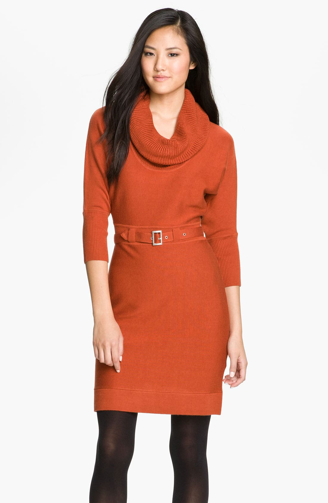 Eliza J Ribbed Cowl Neck Sweater Dress | Nordstrom