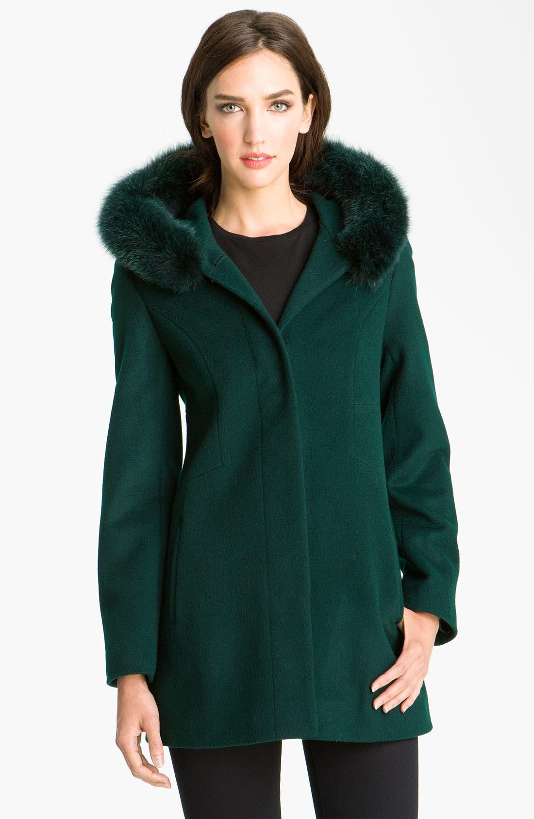 Main Image - Sachi Genuine Fox Trim Hooded Coat