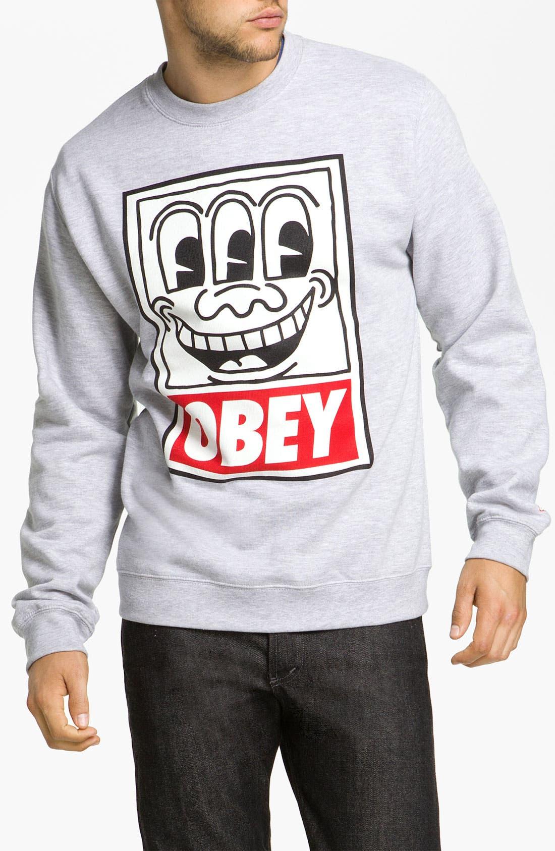 Main Image - Obey 'Haring Eyes' Graphic Crewneck Sweatshirt