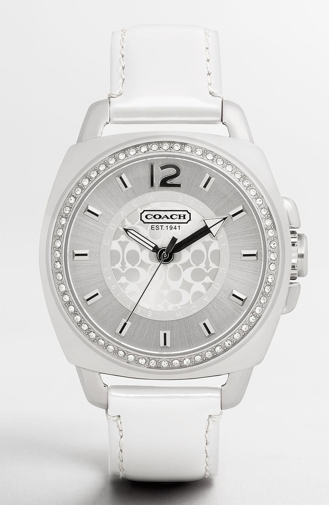 Alternate Image 1 Selected - COACH 'Boyfriend' Crystal Detail Fabric Strap Watch