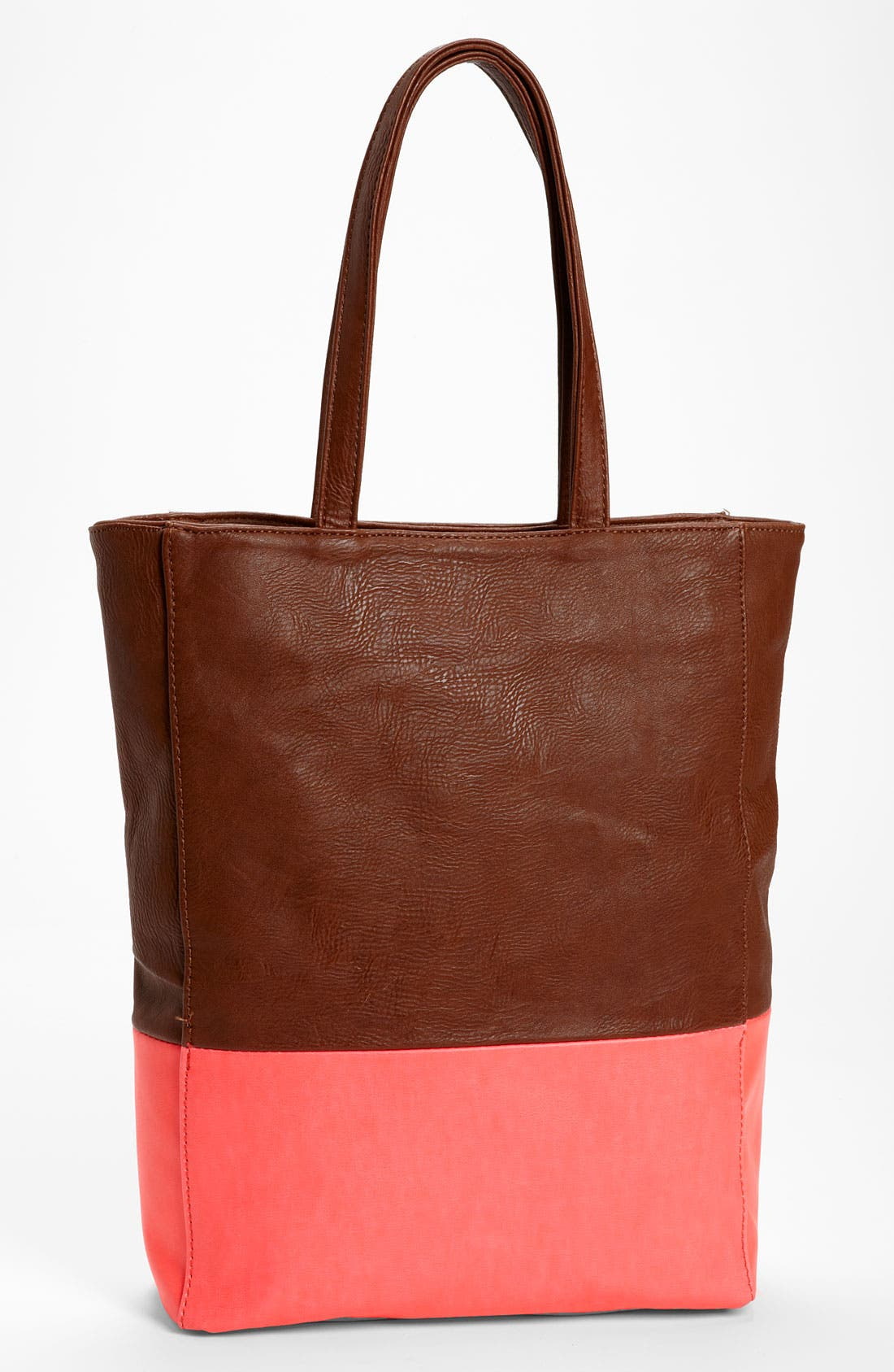 Main Image - Street Level Colorblock Faux Leather Tote