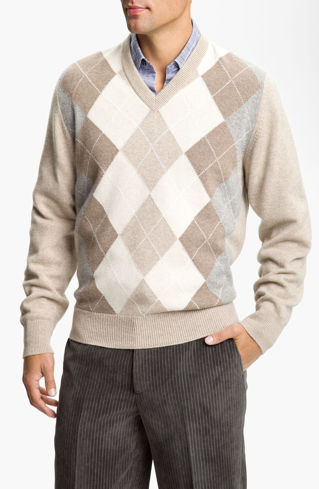 Main Image - MacAlan Argyle Front Cashmere Sweater